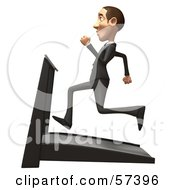Royalty Free RF Clipart Illustration Of A 3d White Corporate Businessman Character Running On A Treadmill Version 3