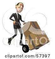 Royalty Free RF Clipart Illustration Of A 3d White Corporate Businessman Character Moving Boxes On A Dolly Version 2