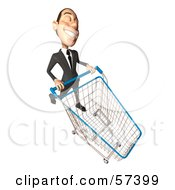 Royalty Free RF Clipart Illustration Of A 3d White Corporate Businessman Character Pushing A Shopping Cart Version 6