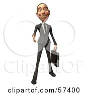 Royalty Free RF Clipart Illustration Of A 3d White Corporate Businessman Character Reaching Out To Shake Hands Version 1