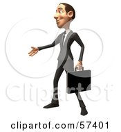 Royalty Free RF Clipart Illustration Of A 3d White Corporate Businessman Character Reaching Out To Shake Hands Version 2