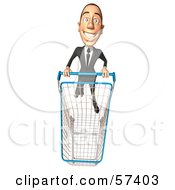 Royalty Free RF Clipart Illustration Of A 3d White Corporate Businessman Character Pushing A Shopping Cart Version 5