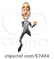 Royalty Free RF Clipart Illustration Of A 3d White Corporate Businessman Character Running Version 3
