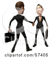 Royalty Free RF Clipart Illustration Of A 3d White Corporate Businessman Character Shaking Hands With A Colleague Version 2 by Julos