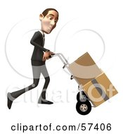 Royalty Free RF Clipart Illustration Of A 3d White Corporate Businessman Character Moving Boxes On A Dolly Version 3