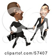 Royalty Free RF Clipart Illustration Of A 3d White Corporate Businessman Character Shaking Hands With A Colleague Version 4 by Julos