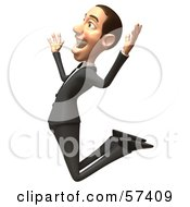 Royalty Free RF Clipart Illustration Of A 3d White Corporate Businessman Character Jumping Version 2