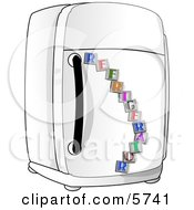 Traditional Household Refrigerator Appliance Clipart Illustration