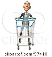 Royalty Free RF Clipart Illustration Of A 3d White Corporate Businessman Character Pushing A Shopping Cart Version 4