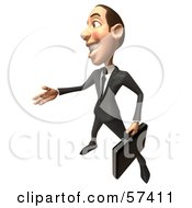 Royalty Free RF Clipart Illustration Of A 3d White Corporate Businessman Character Reaching Out To Shake Hands Version 4