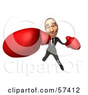 Royalty Free RF Clipart Illustration Of A 3d White Corporate Businessman Character Boxing Version 1