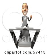 Royalty Free RF Clipart Illustration Of A 3d White Corporate Businessman Character Running On A Treadmill Version 4