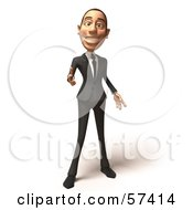 Royalty Free RF Clipart Illustration Of A 3d White Corporate Businessman Character Pointing His Fingers Like A Gun Version 5