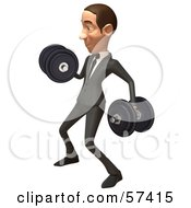 Royalty Free RF Clipart Illustration Of A 3d White Corporate Businessman Character Lifting Weights Version 2