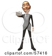 Royalty Free RF Clipart Illustration Of A 3d White Corporate Businessman Character Holding A Blank Business Card Version 3