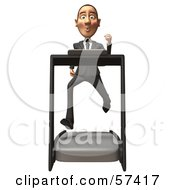 Royalty Free RF Clipart Illustration Of A 3d White Corporate Businessman Character Running On A Treadmill Version 1