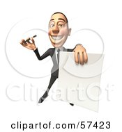 Royalty Free RF Clipart Illustration Of A 3d White Corporate Businessman Character Holding A Contract Version 4 by Julos