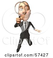 Royalty Free RF Clipart Illustration Of A 3d White Corporate Businessman Character Using A Magnifying Glass Version 3