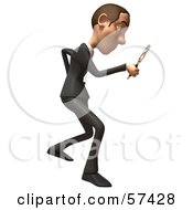 Royalty Free RF Clipart Illustration Of A 3d White Corporate Businessman Character Using A Magnifying Glass Version 2