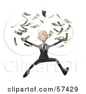 Royalty Free RF Clipart Illustration Of A 3d White Corporate Businessman Character Throwing Cash Version 3