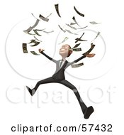 Royalty Free RF Clipart Illustration Of A 3d White Corporate Businessman Character Throwing Cash Version 2