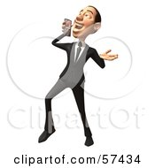 Royalty Free RF Clipart Illustration Of A 3d White Corporate Businessman Character Holding A Cell Phone Version 6