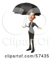 Royalty Free RF Clipart Illustration Of A 3d White Corporate Businessman Character Standing Under An Umbrella Version 2