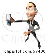 Royalty Free RF Clipart Illustration Of A 3d White Corporate Businessman Character Holding A Cell Phone Version 8
