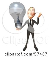 Royalty Free RF Clipart Illustration Of A 3d White Corporate Businessman Character Holding A Light Bulb Version 1