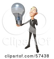 Royalty Free RF Clipart Illustration Of A 3d White Corporate Businessman Character Holding A Light Bulb Version 3