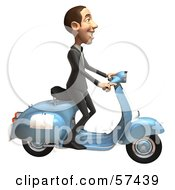 Royalty Free RF Clipart Illustration Of A 3d White Corporate Businessman Character Riding A Scooter Version 2