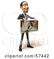 Royalty Free RF Clipart Illustration Of A 3d White Corporate Businessman Character Holding An Oversized Banknote Version 2