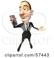 Royalty Free RF Clipart Illustration Of A 3d White Corporate Businessman Character Holding A Cell Phone Version 3