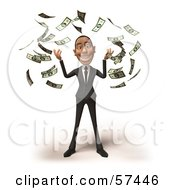 Royalty Free RF Clipart Illustration Of A 3d White Corporate Businessman Character Throwing Cash Version 4