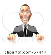 Royalty Free RF Clipart Illustration Of A 3d White Corporate Businessman Character Standing Behind A Blank Sign