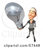 Royalty Free RF Clipart Illustration Of A 3d White Corporate Businessman Character Holding A Light Bulb Version 4