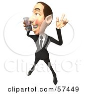 Royalty Free RF Clipart Illustration Of A 3d White Corporate Businessman Character Holding A Cell Phone Version 7