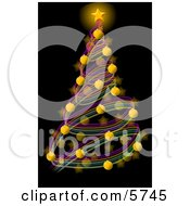 Decorated Christmas Tree With A Bright Gold Star And Balls Clipart Illustration