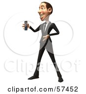 Royalty Free RF Clipart Illustration Of A 3d White Corporate Businessman Character Holding A Cell Phone Version 5