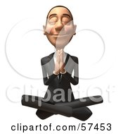Royalty Free RF Clipart Illustration Of A 3d White Corporate Businessman Character Meditating Version 2