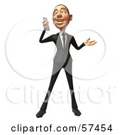Royalty Free RF Clipart Illustration Of A 3d White Corporate Businessman Character Holding A Cell Phone Version 2