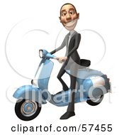 Royalty Free RF Clipart Illustration Of A 3d White Corporate Businessman Character Riding A Scooter Version 1