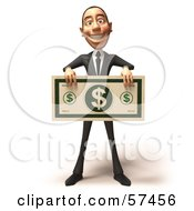 Royalty Free RF Clipart Illustration Of A 3d White Corporate Businessman Character Holding An Oversized Banknote Version 1