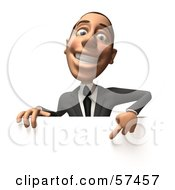Royalty Free RF Clipart Illustration Of A 3d White Corporate Businessman Character Pointing Down And Standing Behind A Blank Sign Version 2