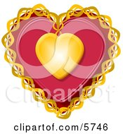 Decorative Red Valentine Heart With Gold Trim