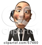 Royalty Free RF Clipart Illustration Of A 3d White Corporate Businessman Character Wearing A Headset Version 2