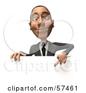 Royalty Free RF Clipart Illustration Of A 3d White Corporate Businessman Character Pointing Down And Standing Behind A Blank Sign Version 1