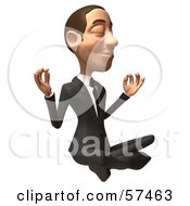 Royalty Free RF Clipart Illustration Of A 3d White Corporate Businessman Character Meditating Version 3
