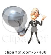 Royalty Free RF Clipart Illustration Of A 3d White Corporate Businessman Character Holding A Light Bulb Version 2