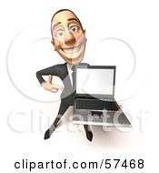 Royalty Free RF Clipart Illustration Of A 3d White Corporate Businessman Character Holding A Laptop Version 3